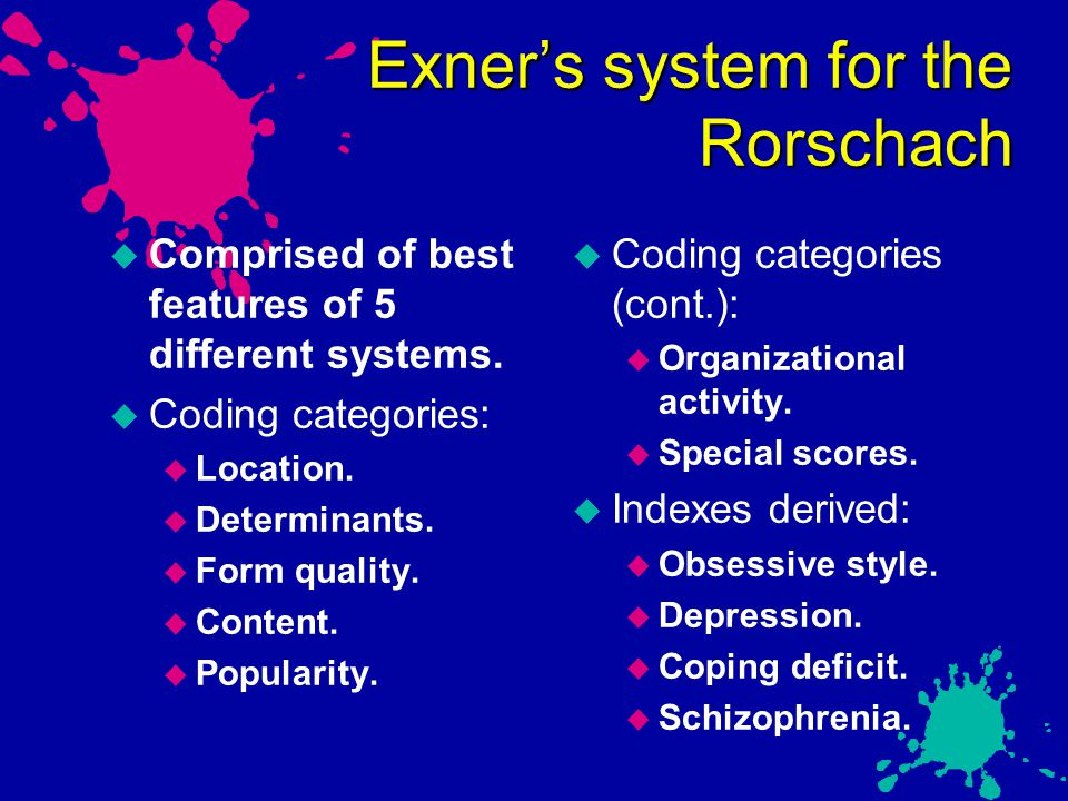 Exner's system for the Rorschach