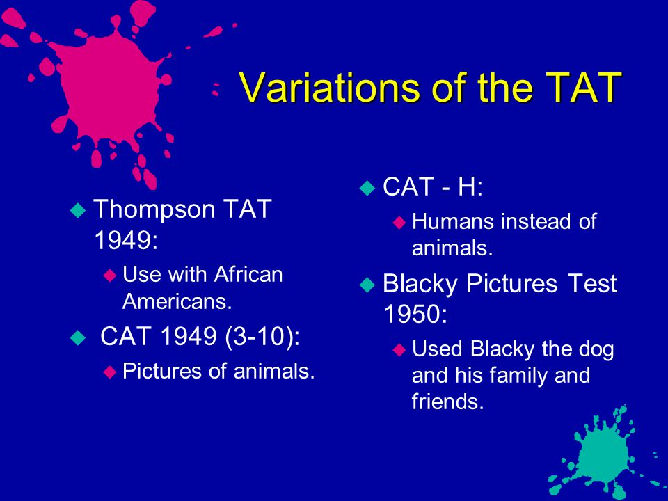 Variations of the TAT CAT - H: Thompson TAT 1949: