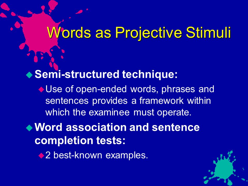 Words as Projective Stimuli