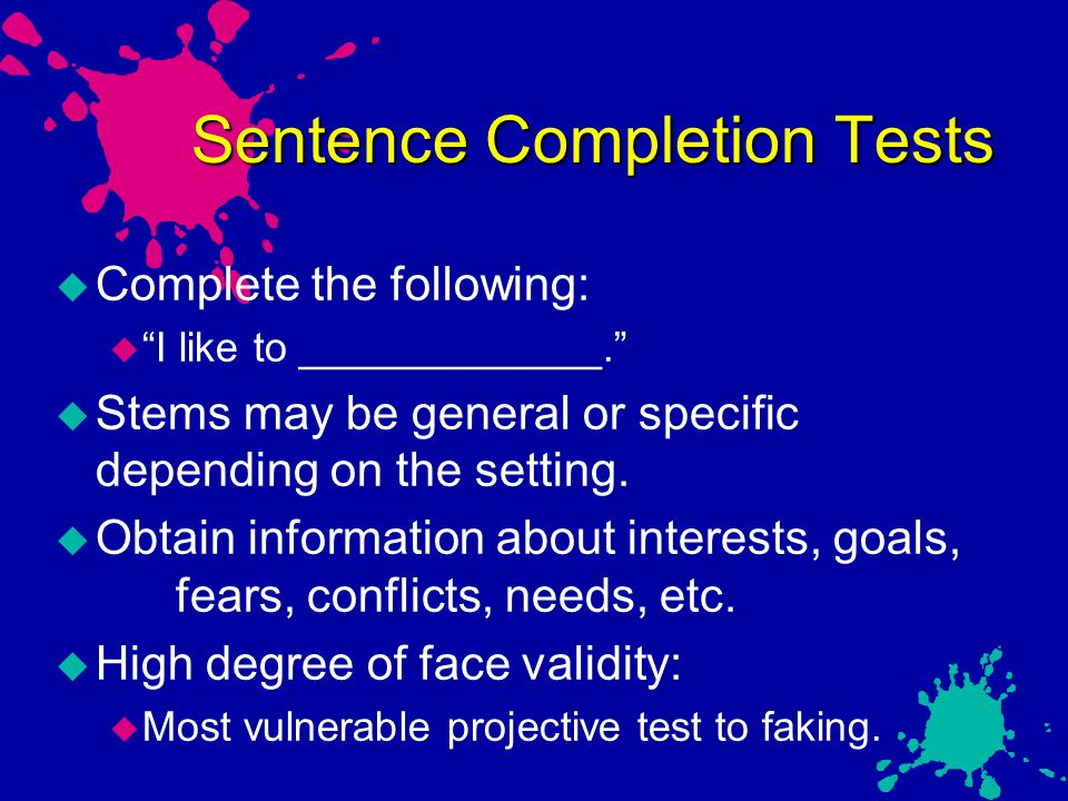 Sentence Completion Tests