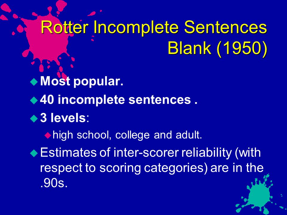 Rotter Incomplete Sentences Blank (1950)