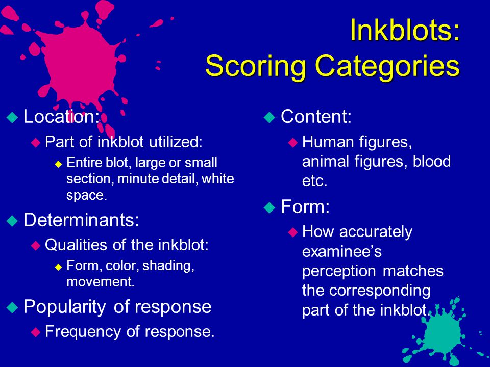 Inkblots: Scoring Categories
