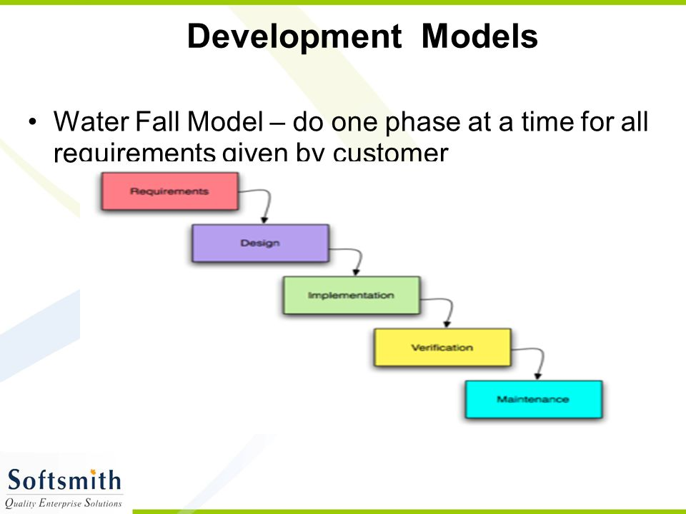 Development Models Water Fall Model – do one phase at a time for all requirements given by customer.