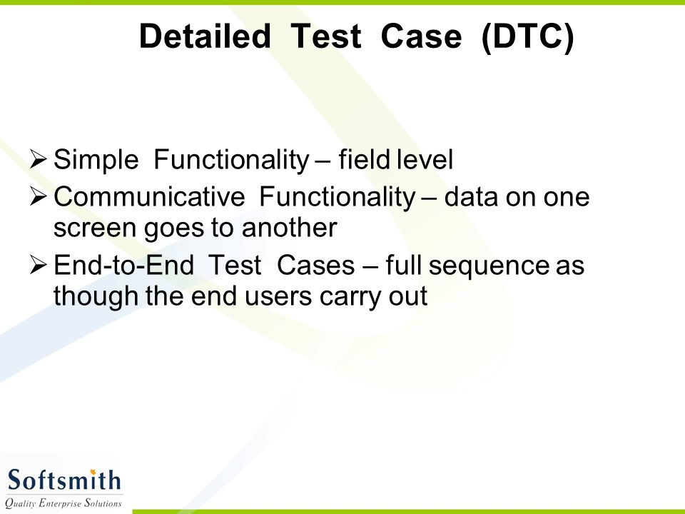Detailed Test Case (DTC)