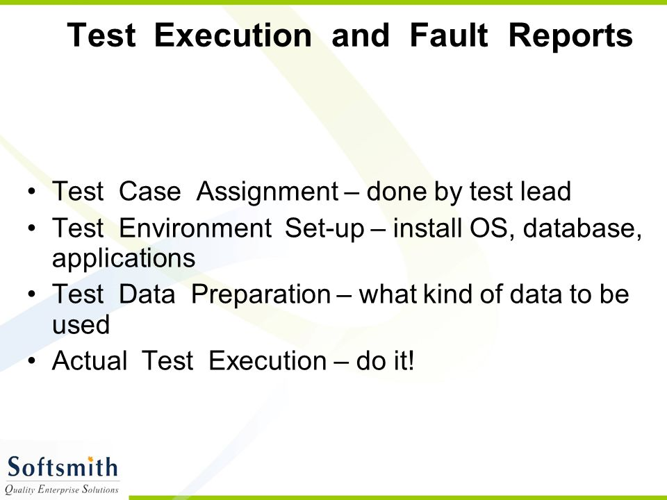 Test Execution and Fault Reports