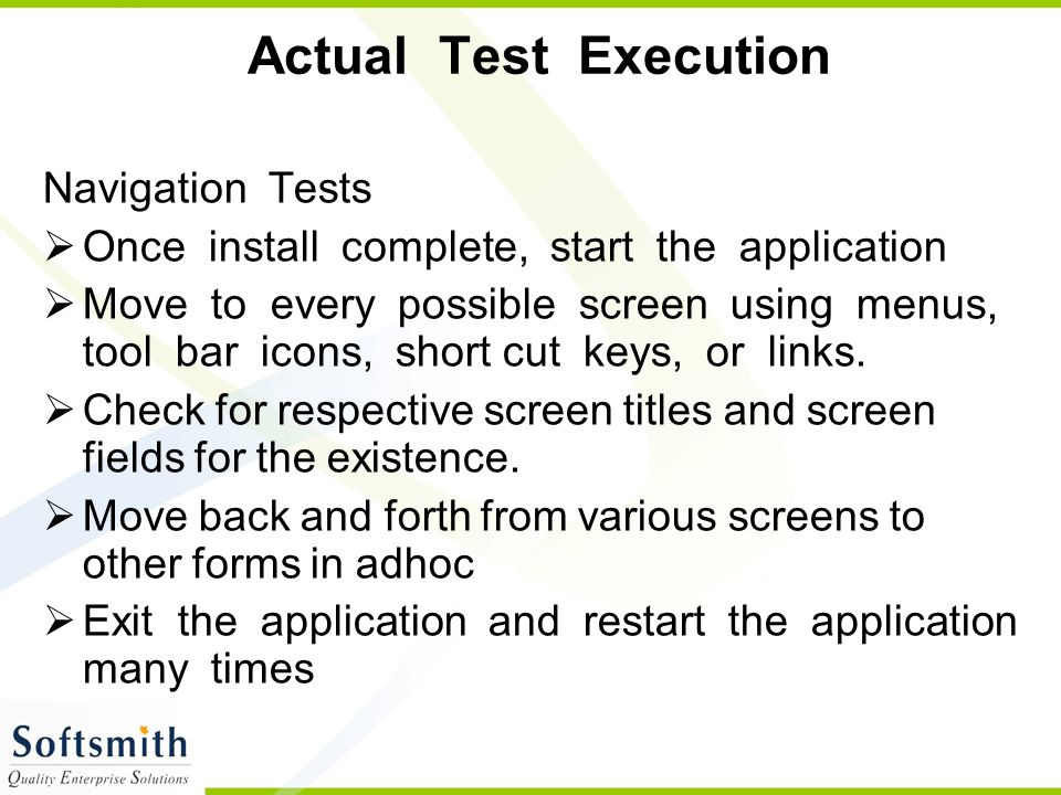 Actual Test Execution Navigation Tests