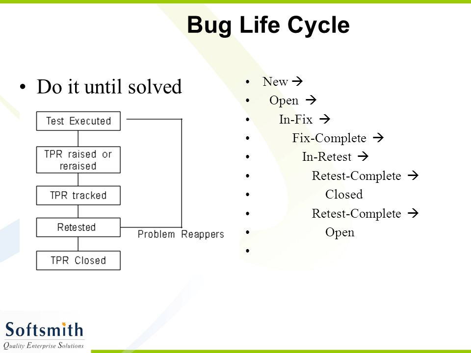 Bug Life Cycle Do it until solved New  Open  In-Fix  Fix-Complete 