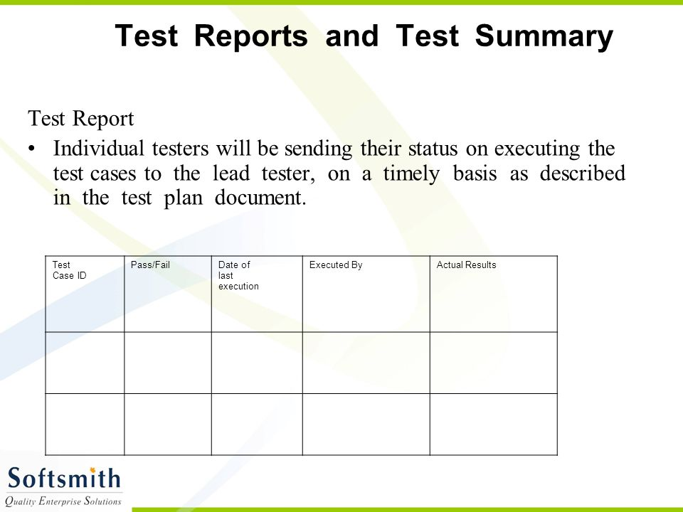 Test Reports and Test Summary