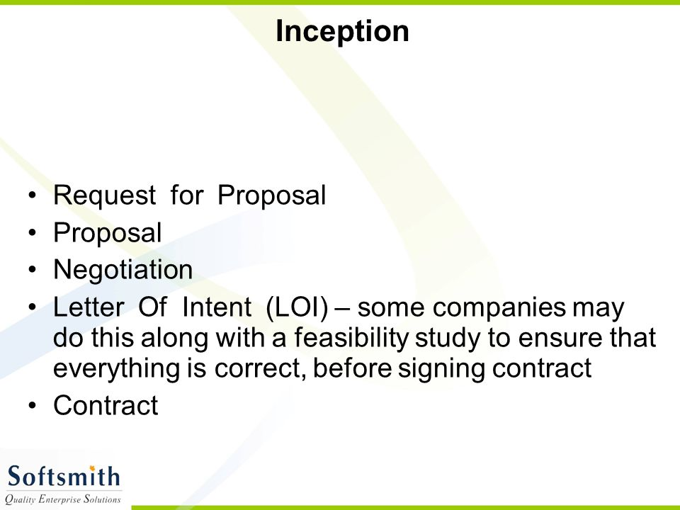 Inception Request for Proposal Proposal Negotiation