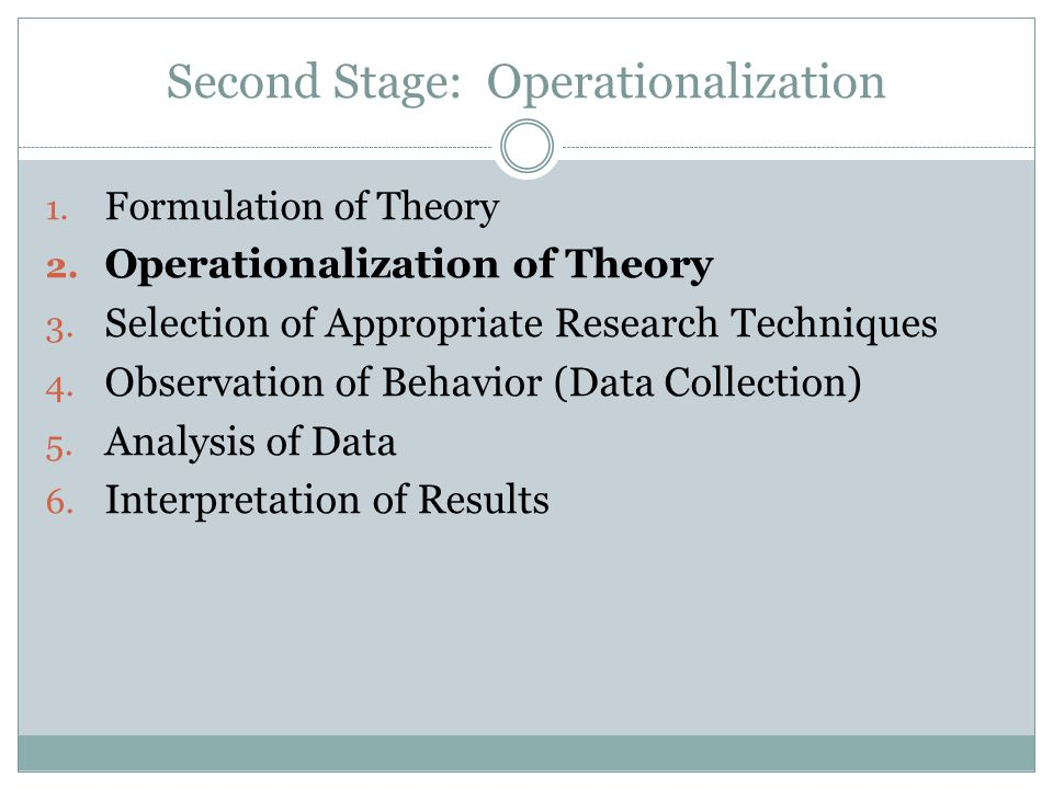 Second Stage: Operationalization
