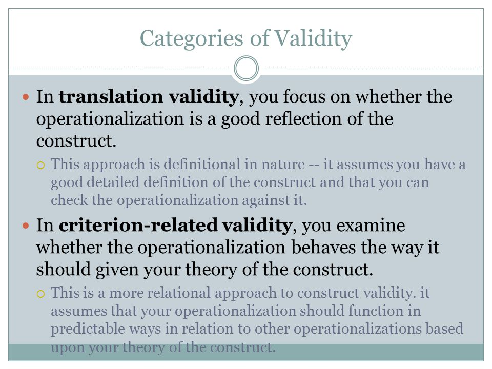 Categories of Validity
