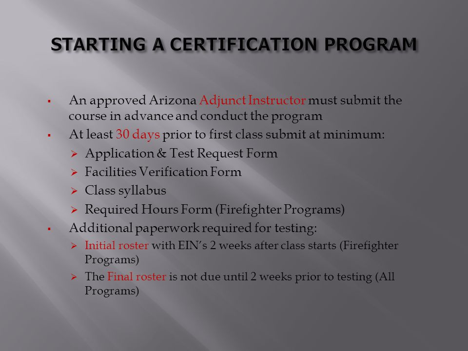 STARTING A CERTIFICATION PROGRAM