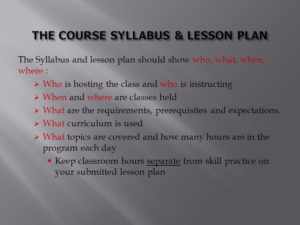 THE COURSE SYLLABUS & LESSON PLAN