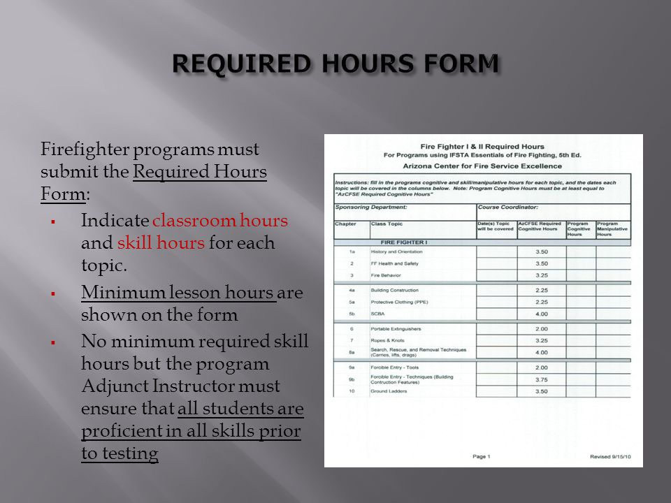 REQUIRED HOURS FORM Firefighter programs must submit the Required Hours Form: Indicate classroom hours and skill hours for each topic.