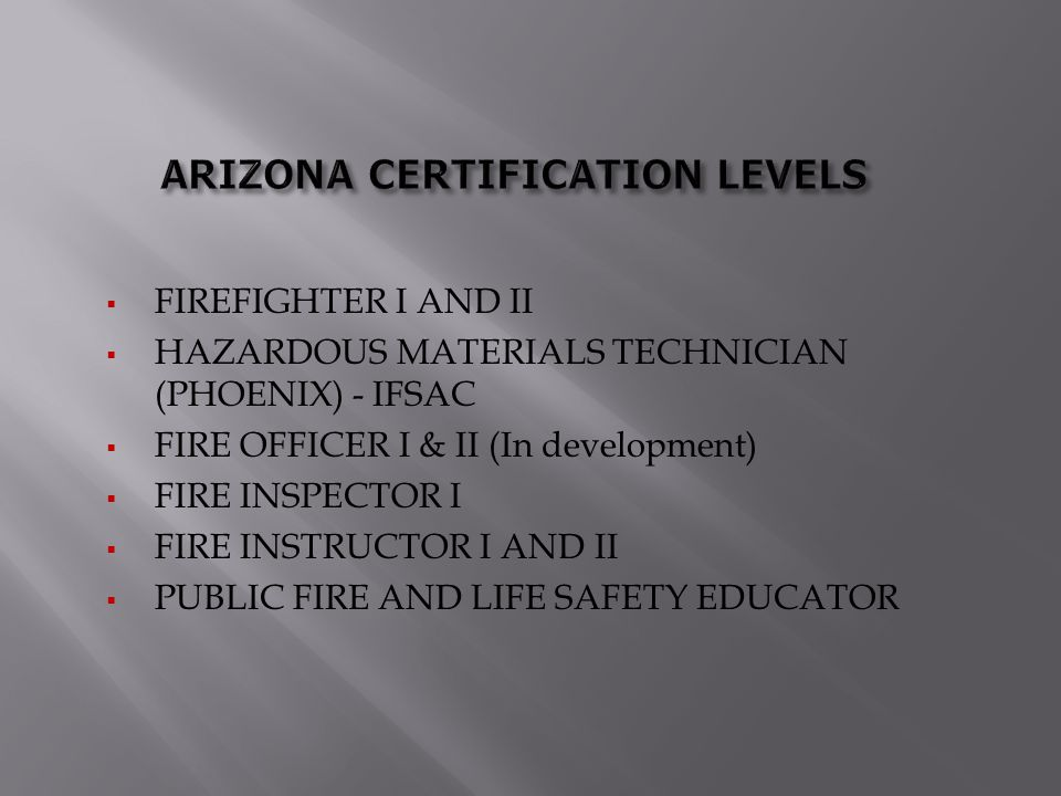 ARIZONA CERTIFICATION LEVELS