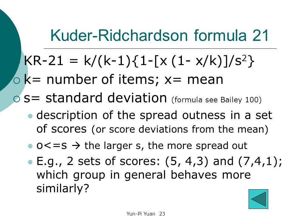Kuder-Ridchardson formula 21