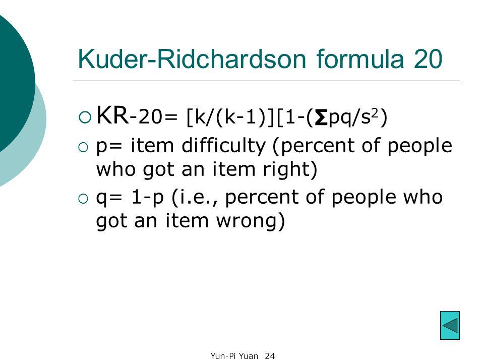 Kuder-Ridchardson formula 20