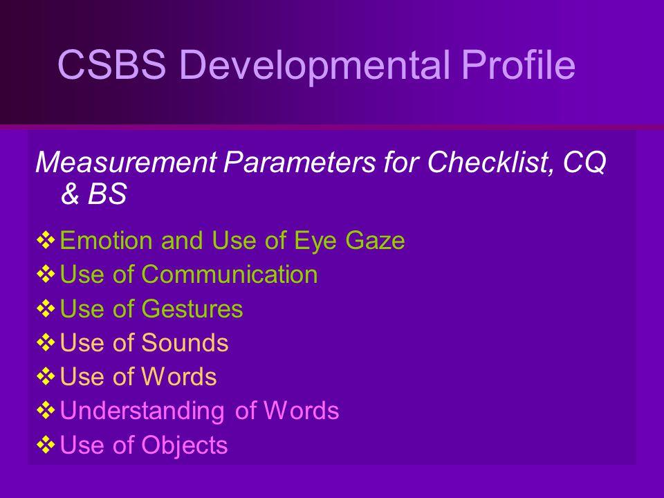 CSBS Developmental Profile