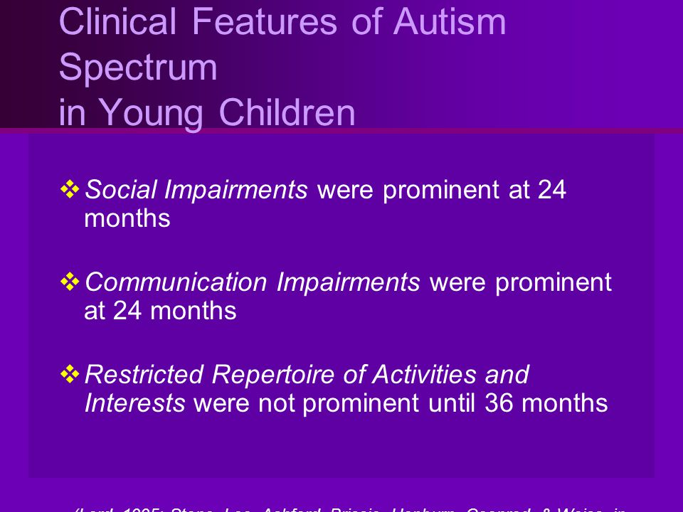 Clinical Features of Autism Spectrum in Young Children