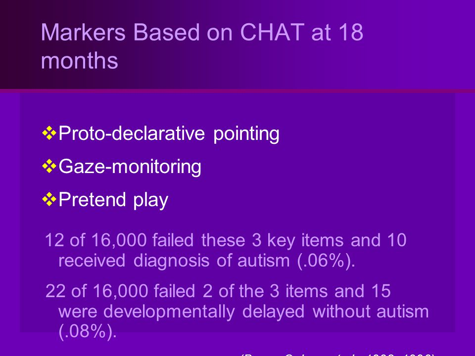 Markers Based on CHAT at 18 months