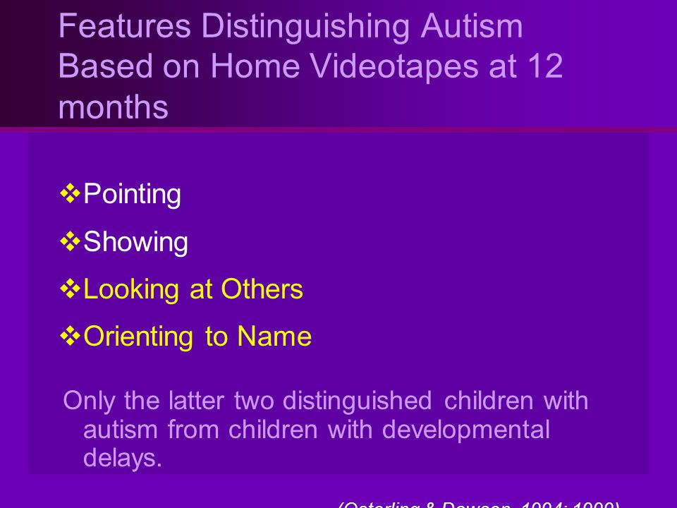 Features Distinguishing Autism Based on Home Videotapes at 12 months