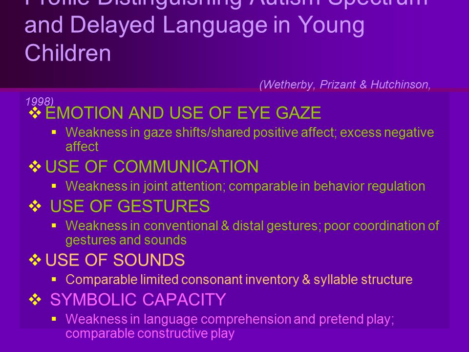 Profile Distinguishing Autism Spectrum and Delayed Language in Young Children (Wetherby, Prizant & Hutchinson, 1998)