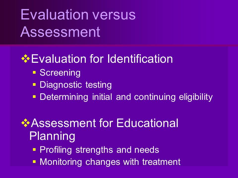 Evaluation versus Assessment