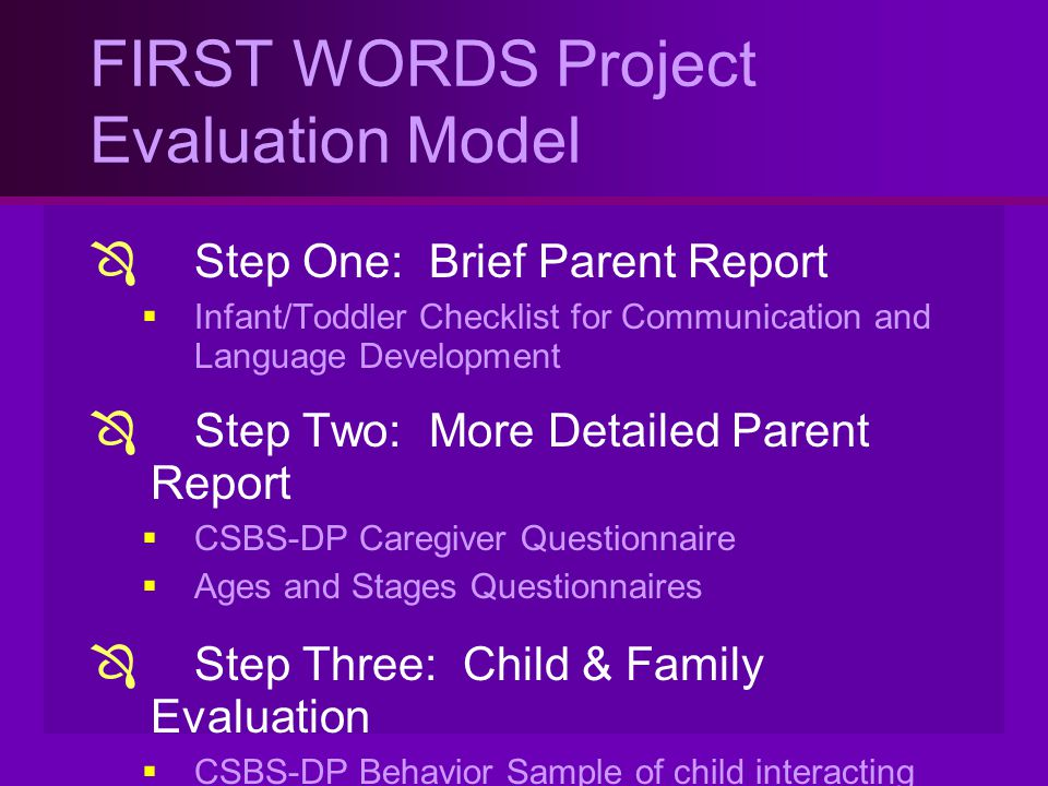 FIRST WORDS Project Evaluation Model
