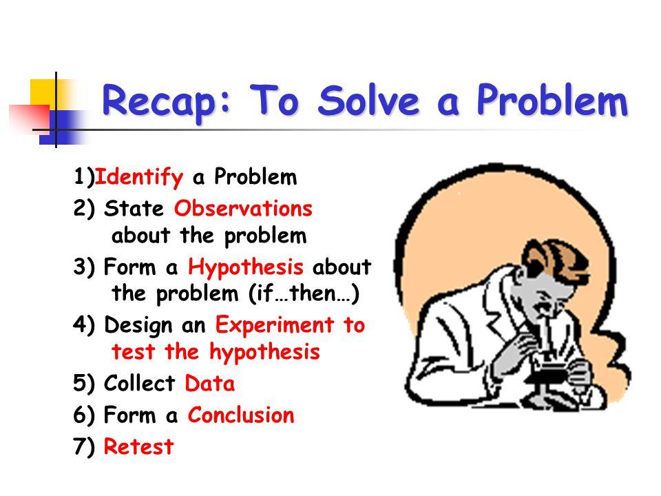 Recap: To Solve a Problem
