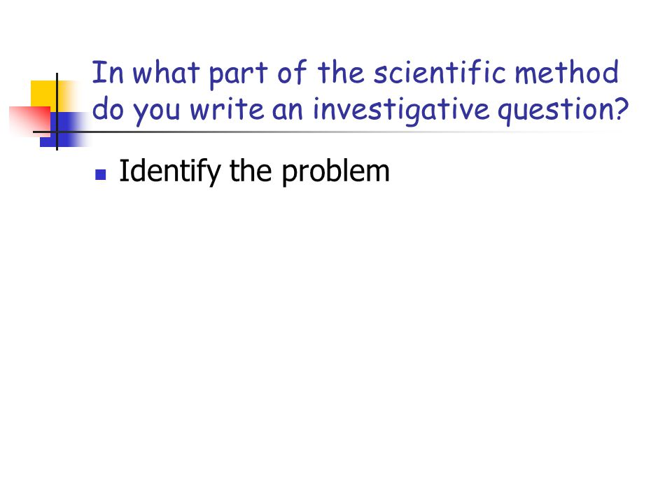 In what part of the scientific method do you write an investigative question