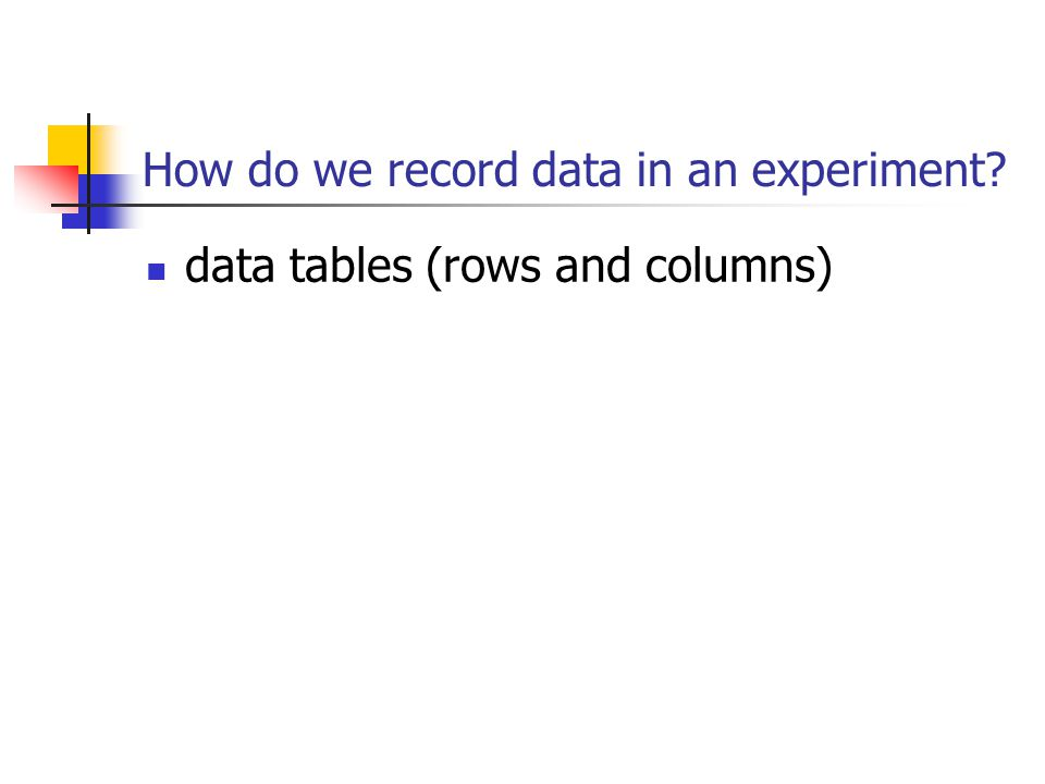 How do we record data in an experiment