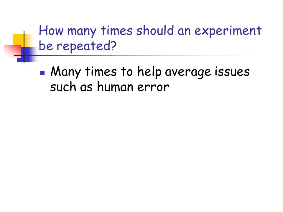 How many times should an experiment be repeated