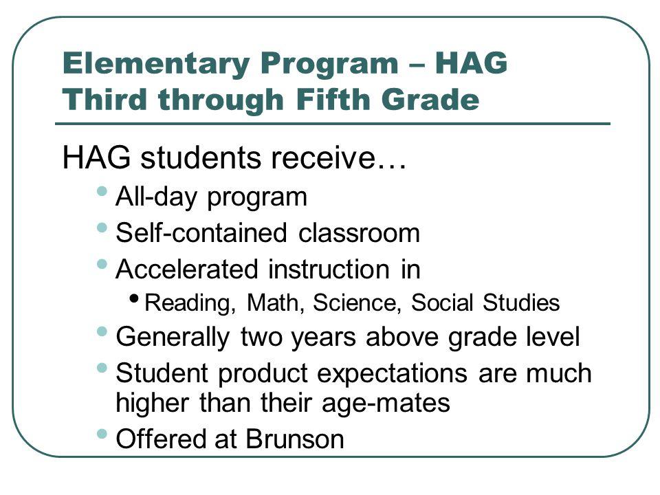 Elementary Program – HAG Third through Fifth Grade