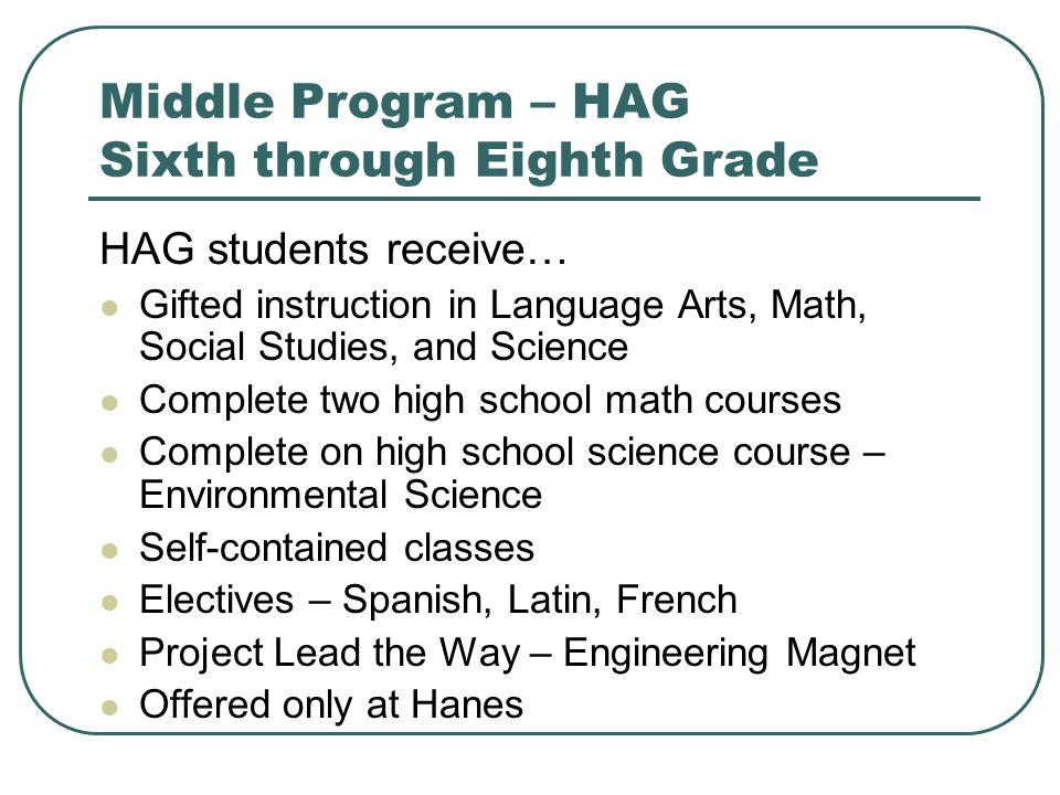 Middle Program – HAG Sixth through Eighth Grade
