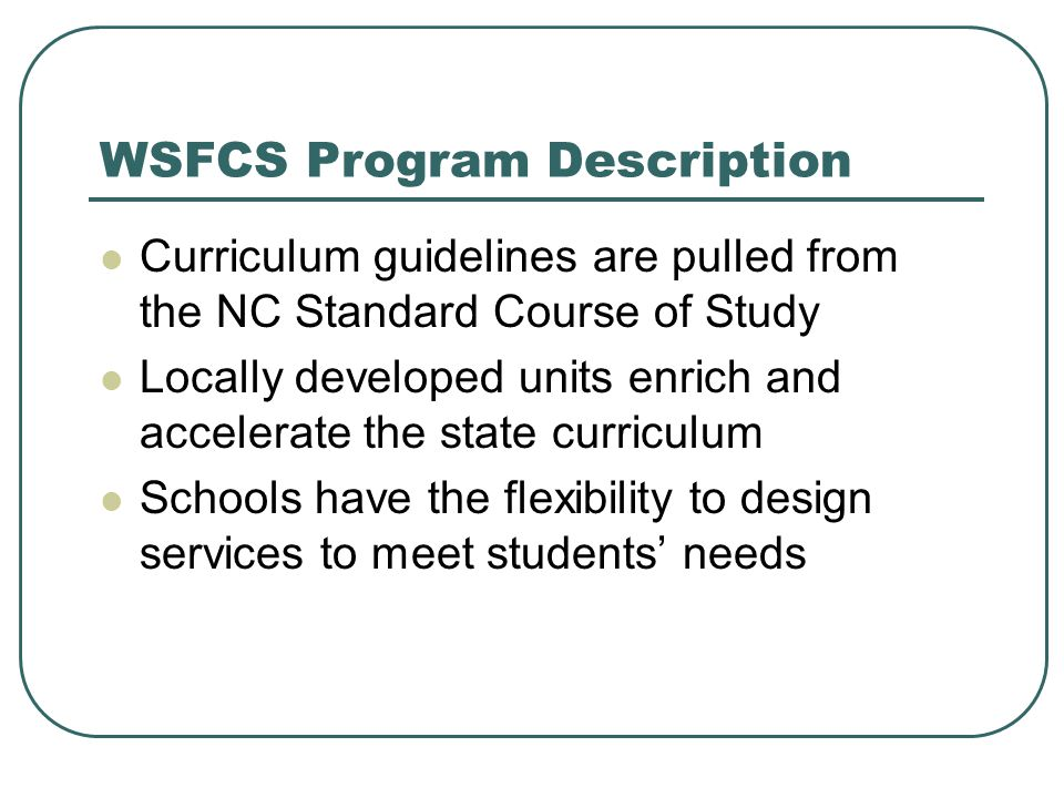 WSFCS Program Description