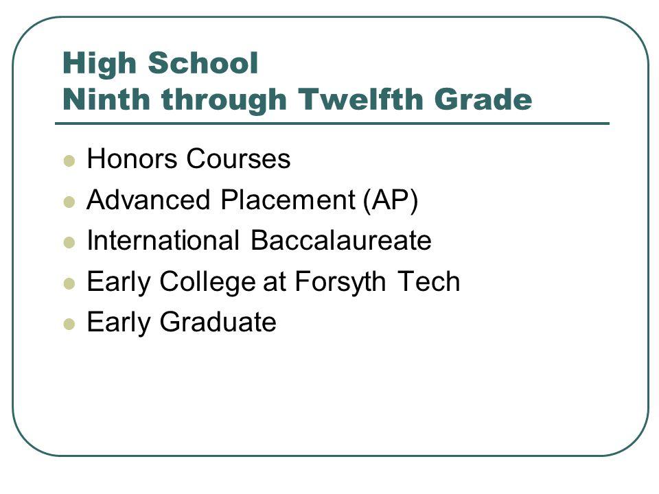 High School Ninth through Twelfth Grade