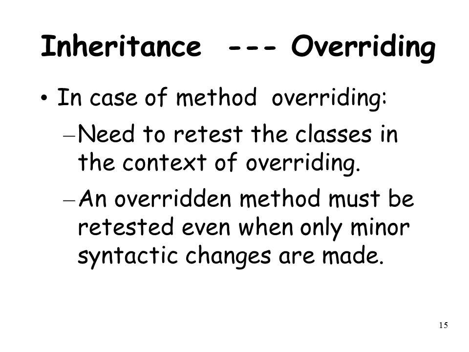 Inheritance --- Overriding