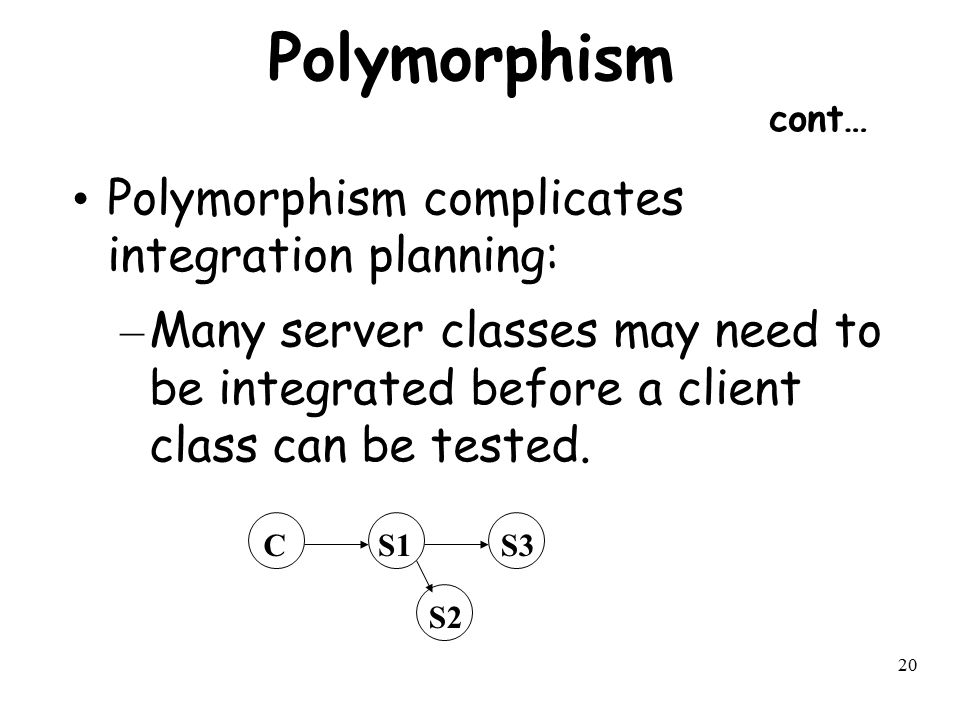 Polymorphism cont… Polymorphism complicates integration planning: