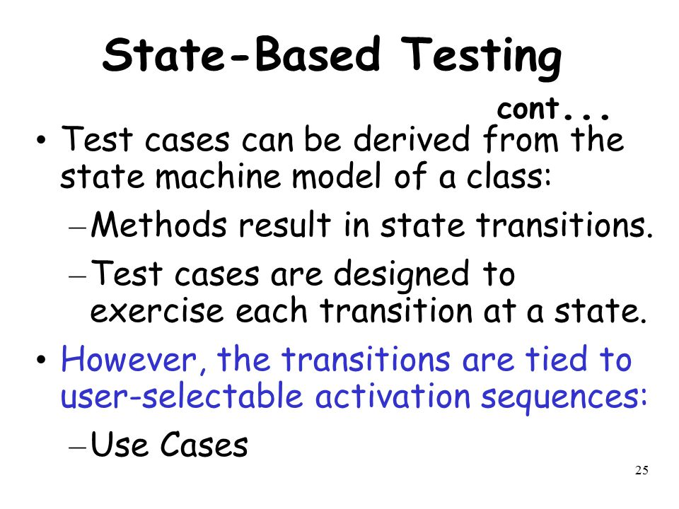 State-Based Testing cont...