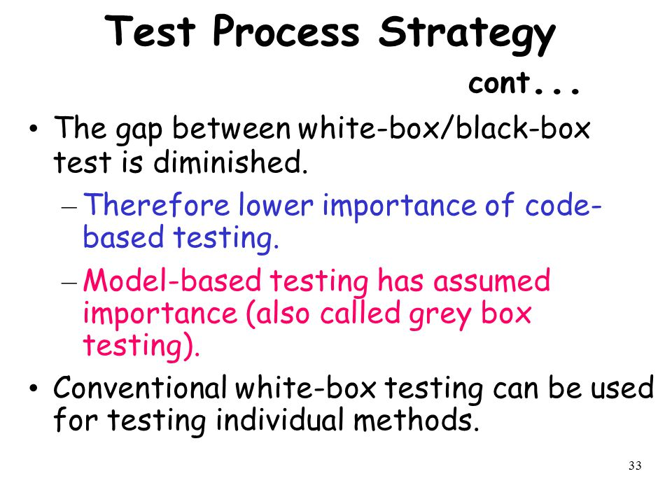 Test Process Strategy cont...
