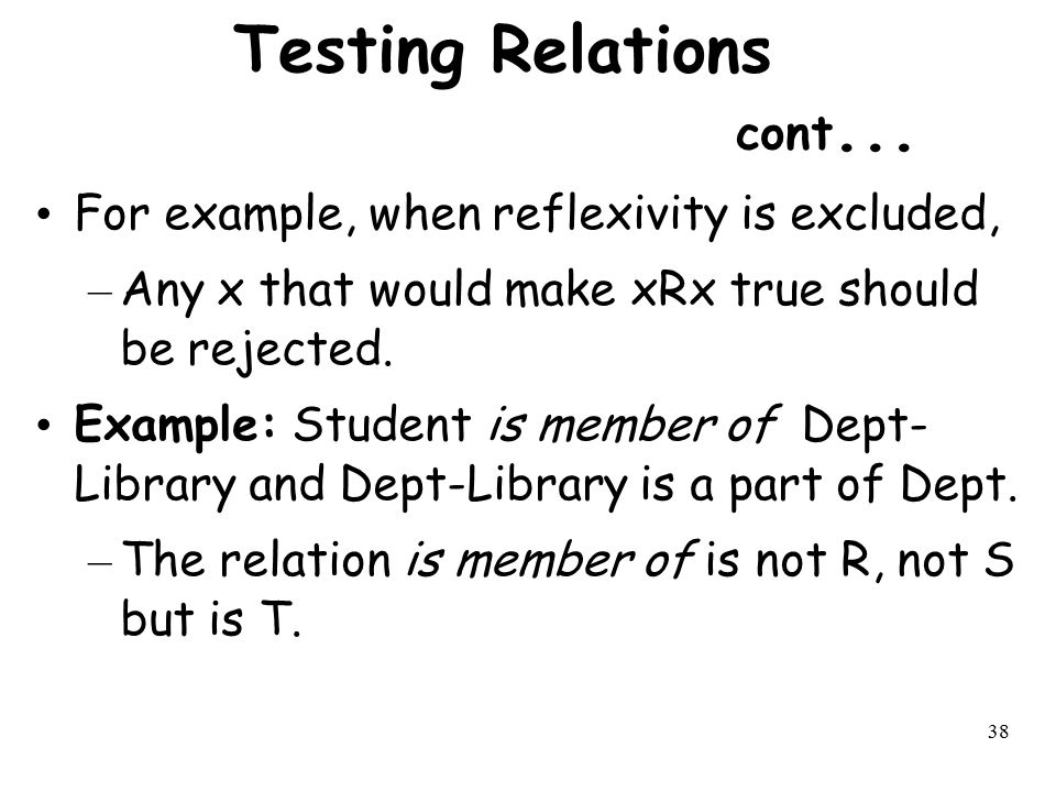 Testing Relations cont...
