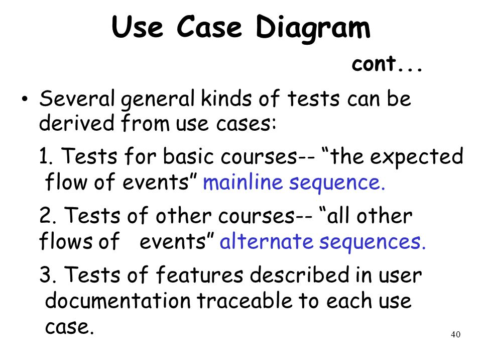 Use Case Diagram cont... Several general kinds of tests can be derived from use cases: