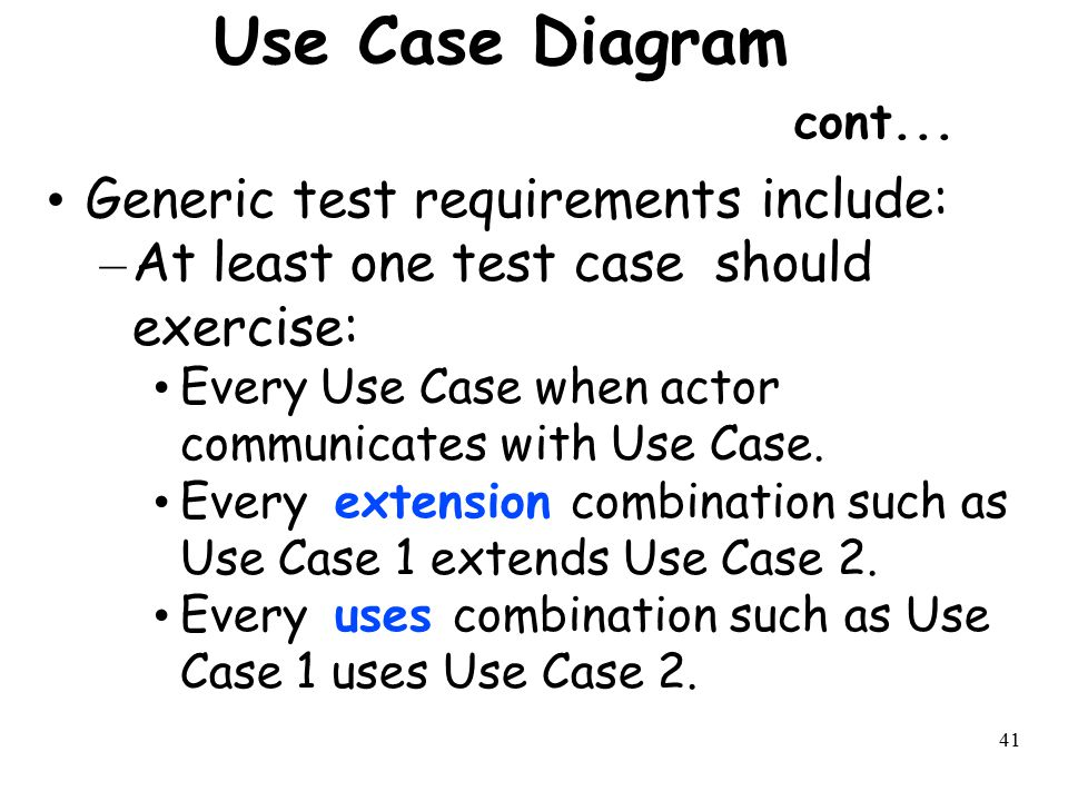 Use Case Diagram cont... Generic test requirements include: