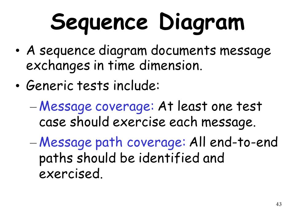 Sequence Diagram A sequence diagram documents message exchanges in time dimension. Generic tests include:
