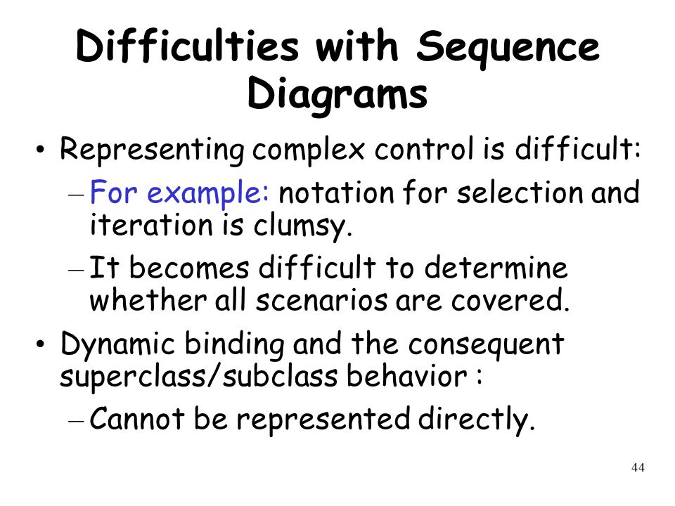 Difficulties with Sequence Diagrams