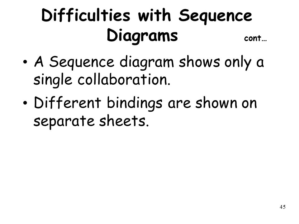 Difficulties with Sequence Diagrams cont…