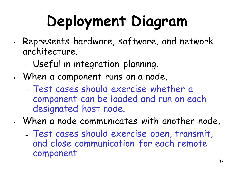 Deployment Diagram Represents hardware, software, and network architecture. Useful in integration planning.