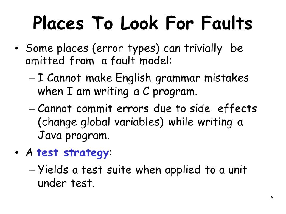 Places To Look For Faults