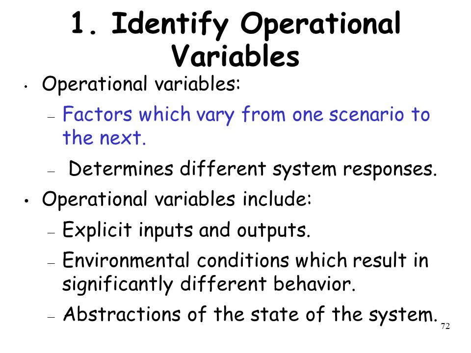 1. Identify Operational Variables