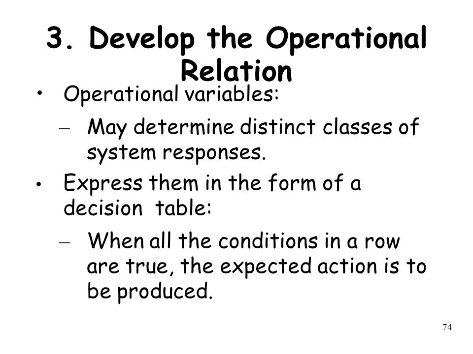 3. Develop the Operational Relation